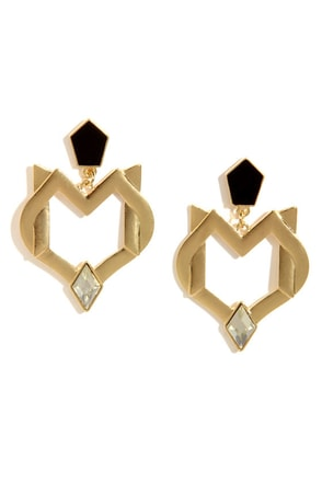 Secret Coven Gold Rhinestone Earrings