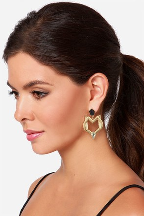 Secret Coven Gold Rhinestone Earrings at Lulus.com!