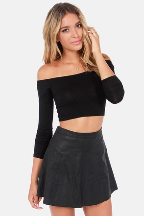 Half the Battle Off-the-Shoulder Black Crop Top