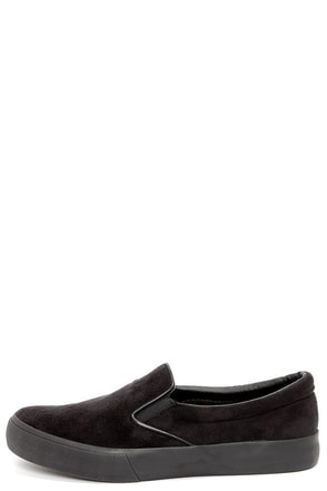 Soda Saylor Black Suede Slip-on Sneakers
