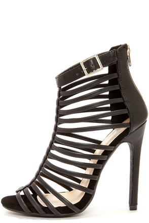 Paprika Julio Black Caged High Heel Sandals