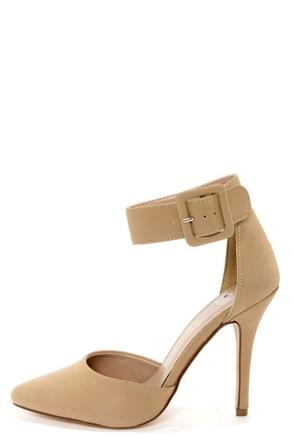 My Delicious Aveta Oat Beige Nubuck Ankle Strap Heels