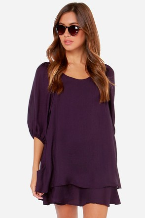 Lucy Love Gabriella Dark Purple Shift Dress