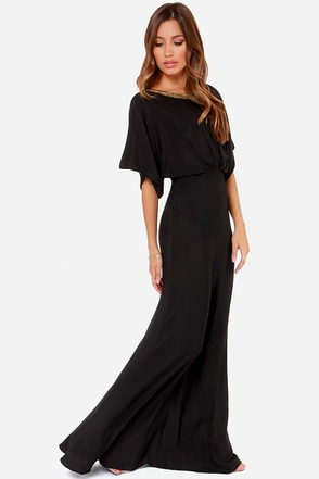 Break Free Beaded Black Maxi Dress