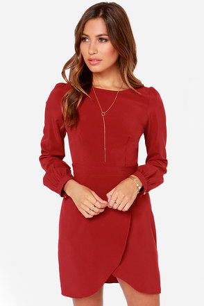 Chic the Truth Wine Red Dress at Lulus.com!