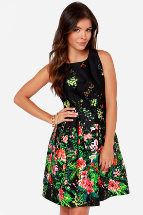 I. Madeline Gardens of the Galaxy Black Floral Print Dress at Lulus.com!