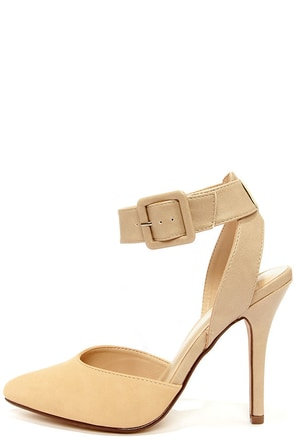 My Delicious Rosita Oat Taupe Ankle Strap Heels