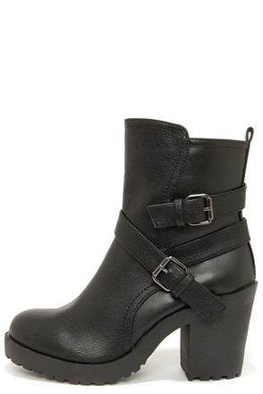 Soda Shena Black High Heel Boots