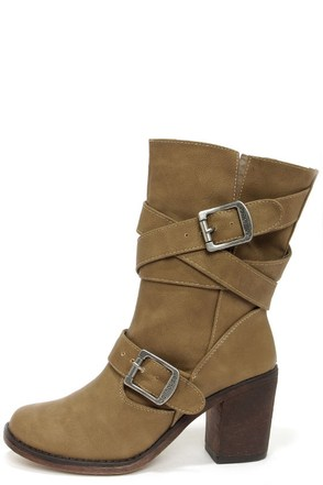 Dollhouse Persuade Taupe Belted Mid-Calf Boots