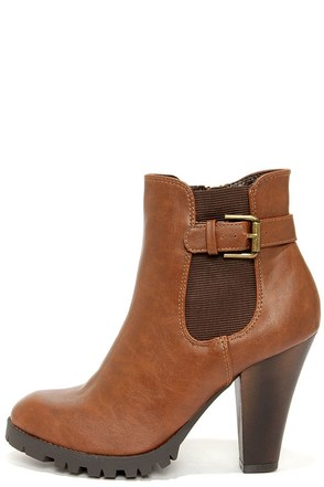 Soda Magic Tan Brown High Heel Ankle Boots