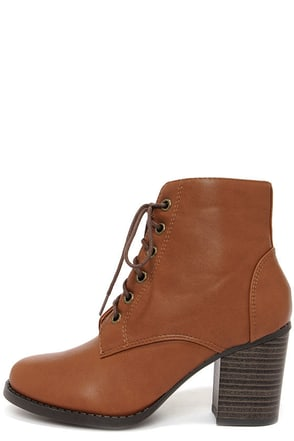 Soda Korman Tan Lace-Up Ankle Boots
