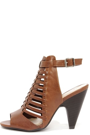 My Delicious Venture Light Brown Caged Shootie Heels
