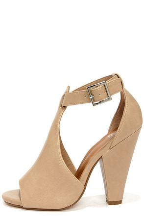 My Delicious Speakup Taupe Cutout Peep Toe Booties