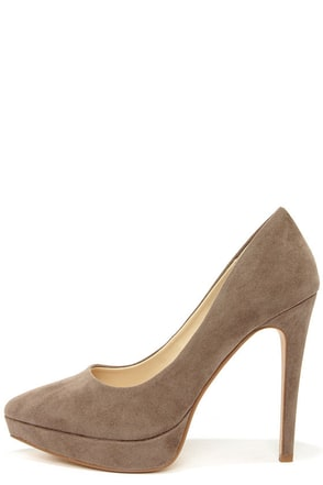 Anne Michelle Midway 01 Taupe Suede Platform Pumps at Lulus.com!