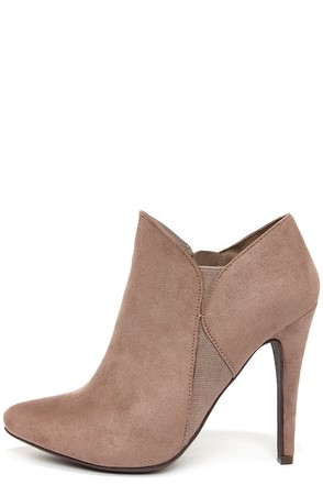 My Delicious Grier Light Cement Suede High Heel Booties