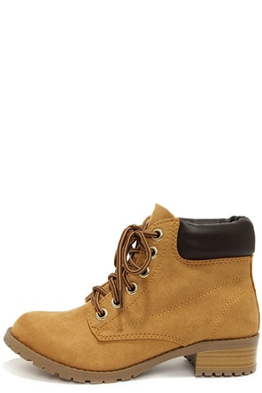 Soda Equity Tan Suede Work Boots at Lulus.com!