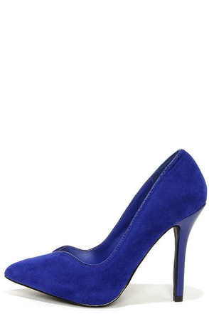 Anne Michelle Sensuous 34 Blue Suede Pointed Pumps