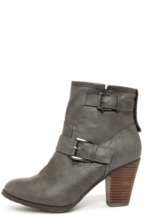 Dollhouse Social Charcoal Grey High Heel Booties