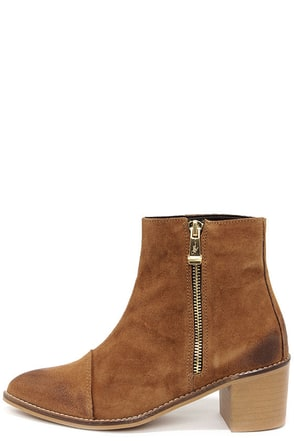 Report Jackal Tan Suede Leather Ankle Boots at Lulus.com!