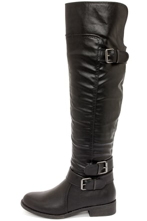 Madden Girl Chrysler Black Over the Knee Boots