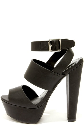 My Delicious Capable Black Strappy Platform Sandals