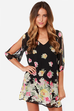 LULUS Exclusive Shifting Dears Black Floral Print Dress
