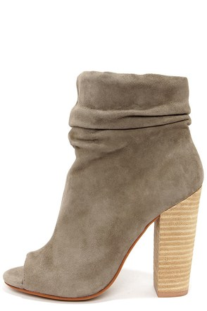 Chinese Laundry Laurel Grey Kid Suede Peep Toe Booties
