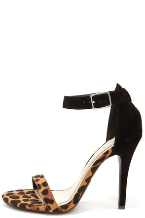 Anne Michelle Enzo 01N Leopard Suede Single Strap Heels