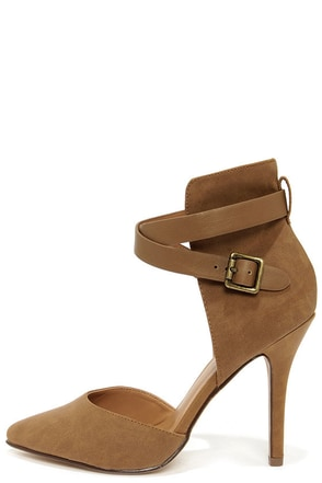 My Delicious Aijah Mid Tan High Back Pointed Heels