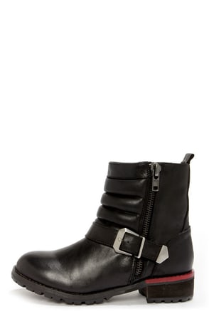 Kelsi Dagger Teegan Black Leather Mid-Calf Motorcycle Boots