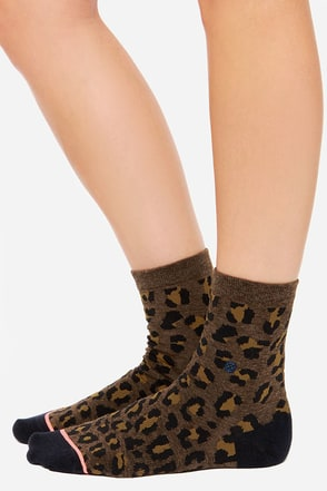 Stance Street Cat Brown Leopard Print Socks