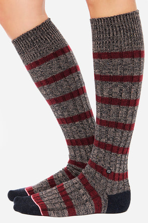 Stance Ella Burgundy Striped Socks