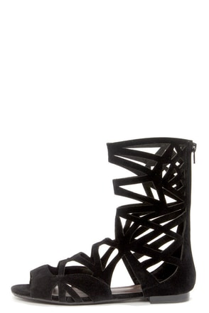 Solo 04 Black Cutout Caged Gladiator Sandals