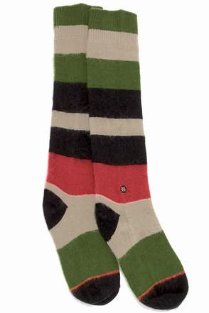 Stance Johnnie Striped Black and Green Socks