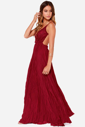 Snowy Meadow Crocheted Wine Red Maxi Dress