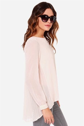 LULUS Exclusive Trade Secrets Light Peach Top