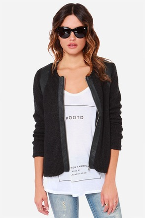 RVCA Soiree Black Vegan Leather Sweater Jacket at Lulus.com!
