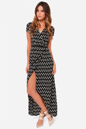 Shapes Travel Beige and Black Wrap Dress
