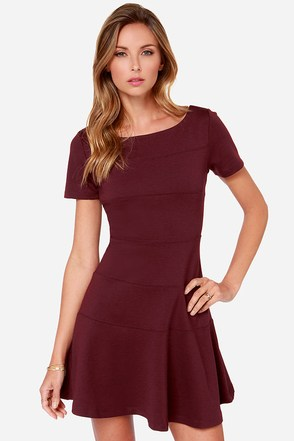 Black Swan Wind Burgundy Dress