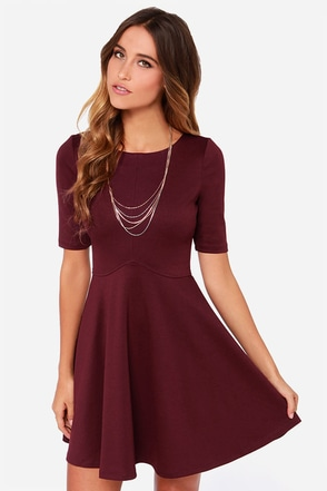 Black Swan Ocean Burgundy Skater Dress