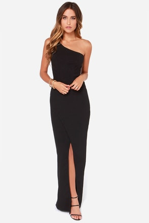 Rubber Ducky Ballet Russe One Shoulder Black Maxi Dress