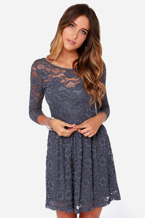 LULUS Exclusive Our Song Grey Lace Dress