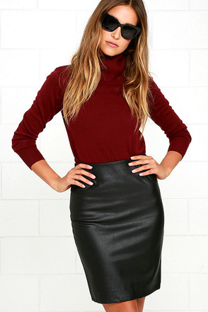 Working Wonders Black Vegan Leather Skirt