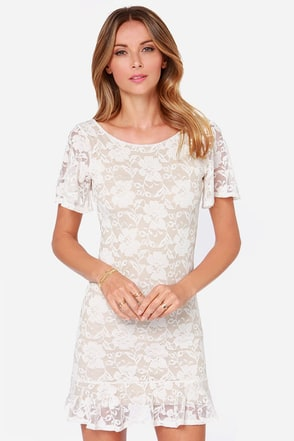 LULUS Exclusive Flutter A Word Ivory Lace Dress