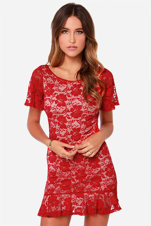 LULUS Exclusive Flutter A Word Red Lace Dress