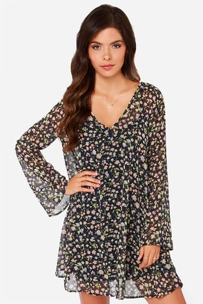 LULUS Exclusive Fleur the Merrier Navy Blue Floral Print Dress