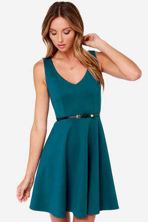 Black Swan Thread Belted Dark Teal Dress