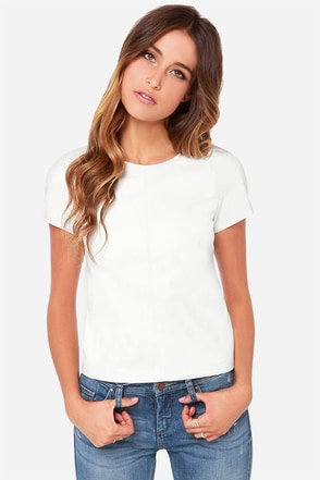 Zip To It Ivory Vegan Leather Top
