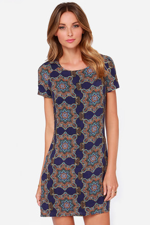 Around the World Navy Blue Print Dress