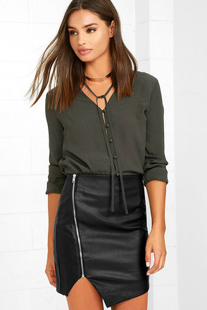 On the Zip-Side Black Vegan Leather Asymmetrical Skirt